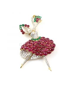 Diamond & Ruby Cabochon Ballerina Brooch in 18kt Yellow Gold