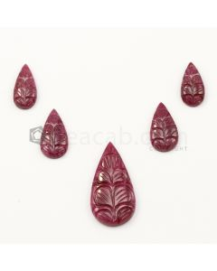 16 x 9 mm to 30 x 15 mm - Medium Red Ruby Pear Shape Carving - 5 piece - 38.85 carats (RCar1029)