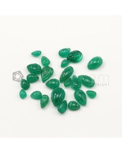 6.50 x 5 mm to 13 x 8.50 mm - Medium Green Emerald Carving - 23 pieces - 33.09 carats (EmCar1073)