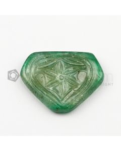 24 x 30 mm - Medium Green Emerald Carving - 1 piece - 28.10 carats (EmCar1088)
