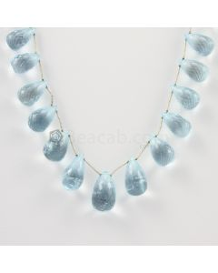 10 to 15 mm - Medium Blue Aquamarine Drops - 99.00 carats (AqDr1012)