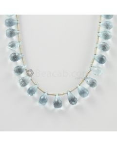 10 to 12 mm - Medium Blue Aquamarine Drops - 77.00 carats (AqDr1013)
