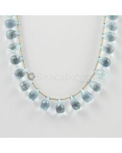 10 to 12 mm - Medium Blue Aquamarine Drops - 77.00 carats (AqDr1013)