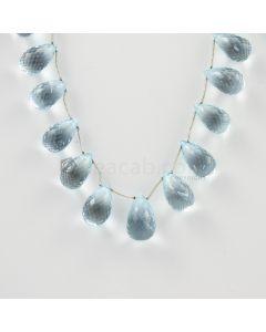 13 to 14 mm - Medium Blue Aquamarine Drops - 142.00 carats (AqDr1019)