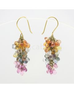 3.50  to 4 mm - Multi-Sapphire Drop Earrings - 48.00 carats (CSEarr1002)