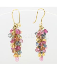 3 to 4 mm - Multi-Sapphire Drop Earrings - 33.40 carats (CSEarr1008)