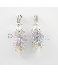 3 to 4 mm - Multi-Sapphire Drop Earrings - 89.50 carats (CSEarr1032)