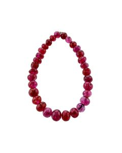 4.7 x 5.6 to 8.2 x 6.9 mm- Unheated Burma Ruby Beads-  6 Inches-  31 pcs (RSB1074)