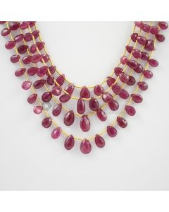 6 to 9 mm - 4 Lines - Ruby Drops - 118.20 carats (RDr1018)