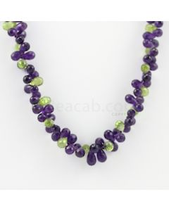 5.50 to 7.50 mm - 1 Line - Amethyst and Peridot Drops Necklace  - 168.50 carats (CSNKL1136)