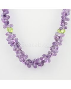 7 to 9 mm - 1 Line - Amethyst and Peridot Drops Necklace  - 190.00 carats (CSNKL1137)