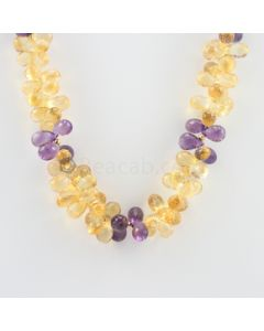 9 to 11 mm - 1 Line - Citine and Amethyst Drops Necklace  - 478.00 carats (CSNKL1125)
