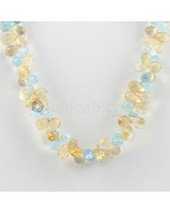 7 to 8 mm - 1 Line - Citrine and Blue Topaz Drops Necklace  - 210.00 carats (CSNKL1131)