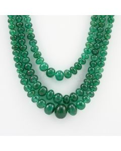 5 to 13.60 mm - 3 Lines - Emerald Smooth Beads - 508.00 carats (EmSB1044)