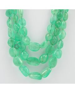 7.00 to 19.50 mm - 3 Lines - Emerald Tumbled Beads - 669.90 carats (EmTuB1037)
