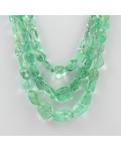 5.00 to 18.00 mm - 3 Lines - Emerald Tumbled Beads - 346.10 carats (EmTuB1040)