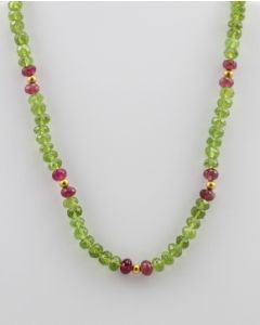 Peridot Faceted - 1 Line - 146.00 carats - 14 inches - (CSNKL1006)