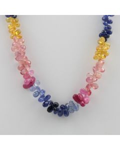 Multi-Sapphire Briolette - 1 Line - 176.50 carats - 18 inches - (CSNKL1010)