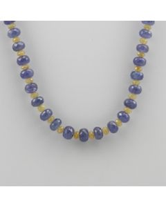 Yellow Sapphire, Tanzanite Faceted - 1 Line - 168.50 carats - 16 inches - (CSNKL1012)