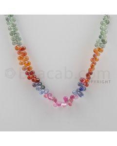 Multi Sapphire Briolettes - 1 Line - 115.00 carats - 17 inches - (MSDF1004)