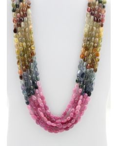 Multi-Sapphire Tumbled Beads - 5 Lines - 692.30 carats - 16 to 19 inches - (MSTuB1038)
