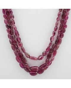 Pink Tourmaline Long Tumbled Beads - 3 Lines - 138.00 carats - 17 to 19 inches - (ToTub1003)
