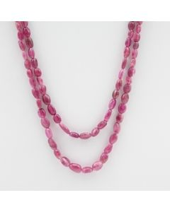 Pink Tourmaline Long Tumbled Beads - 2 Lines - 100.00 carats - 17 to 19 inches - (ToTub1006)