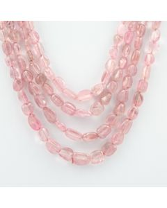 Pink Tourmaline Long Tumbled Beads - 4 Lines - 302.10 carats - 12 to 16 inches - (ToTub1010)