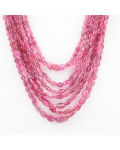 Pink Tourmaline Long Tumbled Beads - 8 Lines - 354.70 carats - 15 to 20 inches - (ToTub1011)
