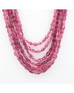 Pink Tourmaline Long Tumbled Beads - 6 Lines - 310.50 carats - 16 to 19.50 inches - (ToTub1012)