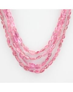 Pink Tourmaline Long Tumbled Beads - 4 Lines - 139.50 carats - 16 to 19 inches - (ToTub1022)