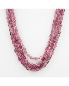Pink Tourmaline Long Tumbled Beads - 4 Lines - 167.00 carats - 18 to 20 inches - (ToTub1023)