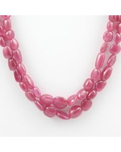 Pink Sapphire Tumbled - 2 Lines - 212.00 carats - 15' to 16 inches - (PnSTuB1014)