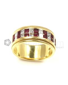 Squares Shape White, Red Ruby, Diamond Ring in 18kt Yellow Gold - 18.5 grams - EST1306