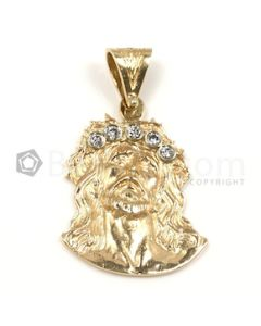 Jesus Shape White Diamond Pendant in 14kt Yellow Gold - 11.2 grams - EST1338