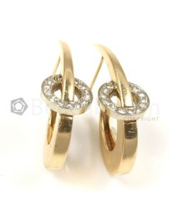 Moon Shape White Diamond Earrings in 14kt Yellow Gold - 7.9 grams - EST1339