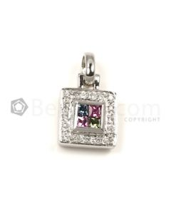 Square Shape White, Multi Diamond, Semi-Precious Pendant in 18kt White Gold - 3.9 grams - EST1343