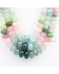 Multi-Tourmaline Roundel Beads - 3 Lines - 759.65 carats - 19 to 22 inches - (MTour1003)