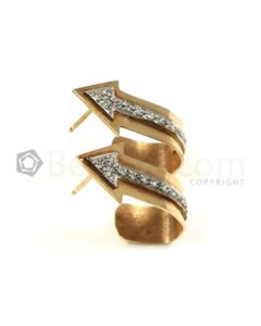 Arrows Shape White Diamond Earrings in 14kt Yellow Gold - 4.55 grams - EST1362