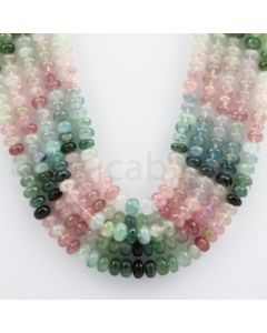 Multi-Tourmaline Roundel Beads - 5 Lines - 618.05 carats - 17 to 20 inches - (MTour1008)