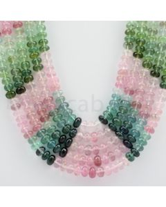 Multi-Tourmaline Roundel Beads - 5 Lines - 545.05 carats - 17 to 20 inches - (MTour1007)