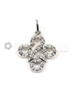 Round Shape White Diamond Pendant in 18kt White Gold - 2.3 grams - EST1372