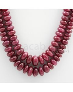 Ruby Roundel Beads - 2 Lines - 402.00 carats - 16 to 18 inches - (RuRoB1023)