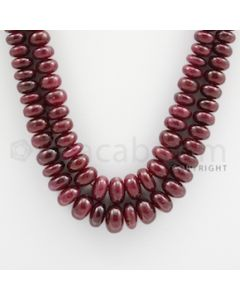 Ruby Roundel Beads - 2 Lines - 490.00 carats - 19 to 20 inches - (RuRoB1024)