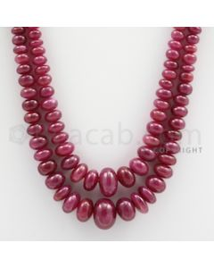 Ruby Roundel Beads - 2 Lines - 247.50 carats - 18 to 20 inches - (RuRoB1022)