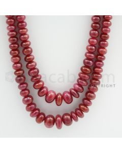 Ruby Roundel Beads - 2 Lines - 505.00 carats - 22 to 24 inches - (RuRoB1001)