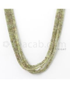 4 Lines - 2.7 to 4 mm - Light Green Sapphire Faceted Beads - 195.40 cts. (GSFB1010)