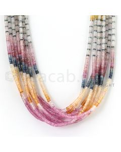 8 Lines - 2.8 to 3.2 mm - Light Tones Multi Sapphire Faceted Beads - 412.00 cts. (MSFB1037)
