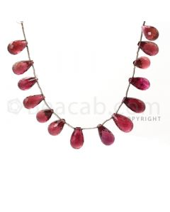 15 pcs - Dark Pink - Tourmaline Faceted Drops (AAA) - 84.00 cts. (TFD1009)