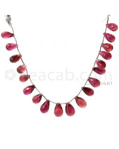 19 pcs - Dark Pink - Tourmaline Faceted Drops (AAA) - 107.00 cts. (TFD1011)